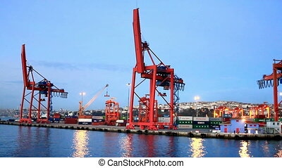 Industrial Harbor - Harbor with containers and cranes on...