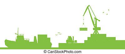 Industrial harbor, ships, transportation and crane seashore...