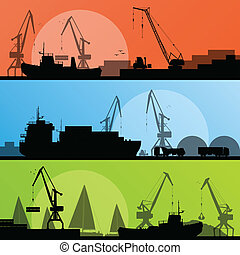 Industrial harbor, ships, transportation and crane seashore ...