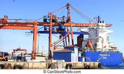 Industrial Harbor with containers and cranes in Istanbul