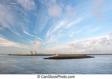 Industrial harbor with wind turbines - Industrial harbor...