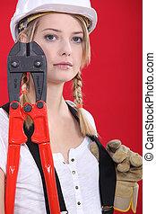 industrial, hembra, trabajador manual, tenencia, cortadores