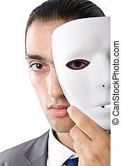industrial, hombre de negocios, concepto, enmascarado,...