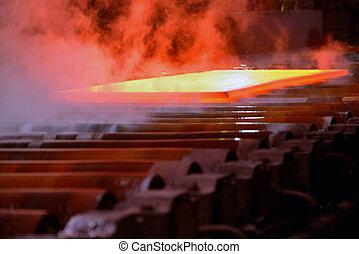 hot steel coil on conveyor
