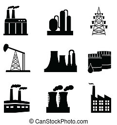 Industrial icon set - Industrial building and objects icon...