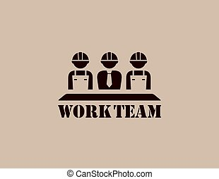 industrial icon with work team - industrial icon with...