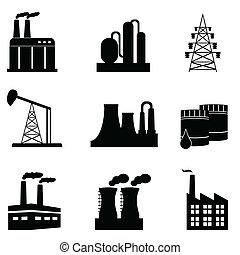 industrial, icono, conjunto