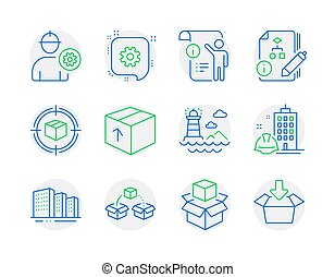 Industrial icons set. Included icon as Engineer, Parcel ...