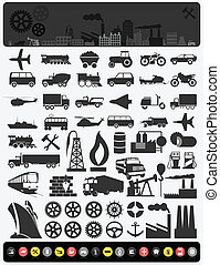 Collection of icons on a theme the industry. A vector illustration