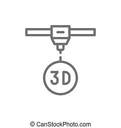 industrial, impresora, línea, dimensional, 3, modelado, icon...