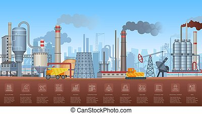 Industrial infographics with factories and plants and icons symbols charts. Vector Industry illustration.