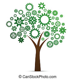 Industrial innovation concept tree made from cogs and gears...