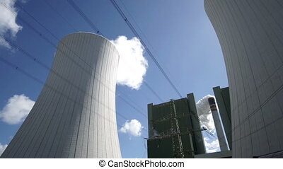 Industrial Installation Cooling Tower With Chimney Timelapse