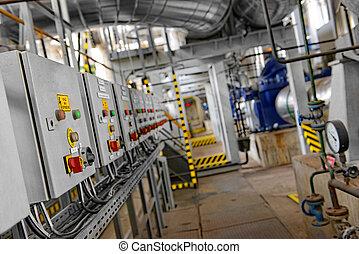 industrial, interior, de, un, central eléctrica