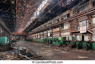 Industrial interior of an old abandoned factory