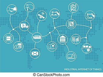 Industrial internet of things (IOT) concept. World map of...