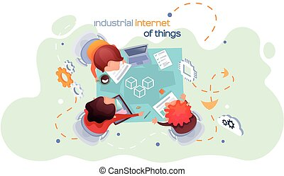 Industrial internet of things. New business ideas by using contemporary digital technology concept