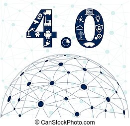 Industrial internet or industry 4.0 concept