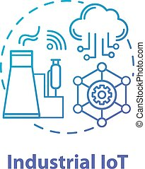 Industrial IoT concept icon. Industrial internet. Manufacturing automatization idea thin line illustration. Modern technologies. Smart industry. Vector isolated outline drawing. Editable stroke