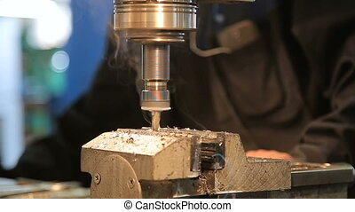 Industrial Iron drill in action