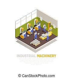 industrial, isometric, conceito, maquinaria