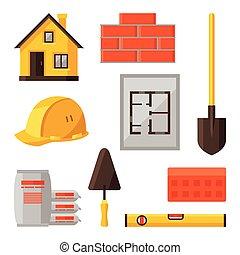 industrial, jogo, objetos, habitação, construção, ícone