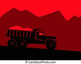 Industrial landscape. Big black dump truck against the background of red mountains and alarming red sky.