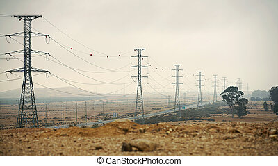 electric poles in the desert
