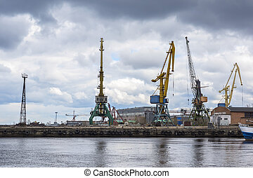 Industrial landscape, lake docks