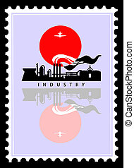 industrial landscape on postage stamps