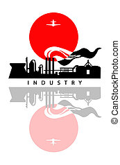 industrial landscape on white back