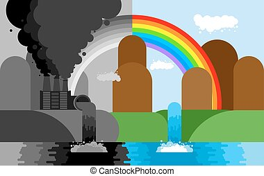 Industrial landscape. Plant emissions into river. Environmental pollution. Black smoke from pipes of factory. Ecological catastrophy. Vector illustration
