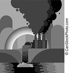 Industrial landscape. Plant emissions into river. Environmental pollution. Black smoke from pipes of factory. Gray rainbow. Ecological catastrophy. Vector illustration