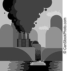 Industrial landscape. Plant emissions into river....