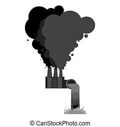 Industrial landscape. Plant poisonous emissions....