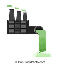 Industrial landscape. Plant poisonous emissions. Environmental pollution. Black smoke from pipes of factory. Ecological catastrophy. Vector illustration
