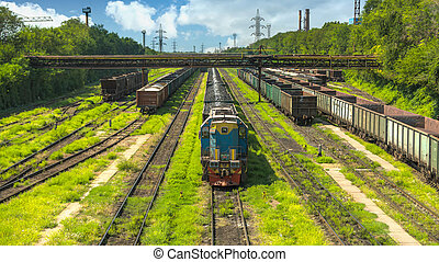 Railway cars on the rails of a metallurgical factory
