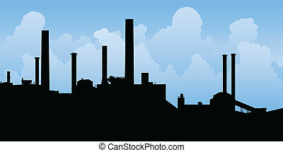 Industrial Landscape - Silhouette of an industrial area.