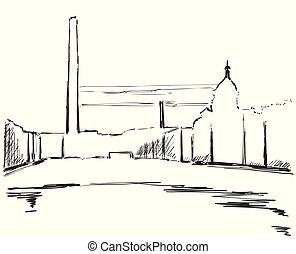 Industrial landscape, sketch drawing for your design