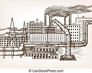 Industrial landscape sketch vector illustration