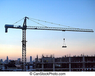 Industrial landscape with cranes