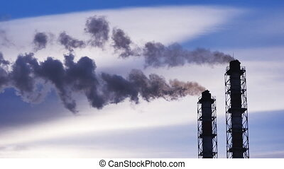 industrial landscape, with Smoking chimneys