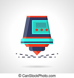 Industrial laser with sparks flat vector icon - Abstract...