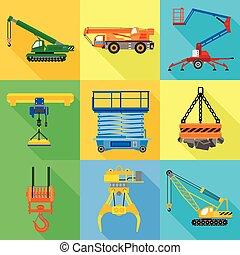 Industrial lift machine icon set, flat style