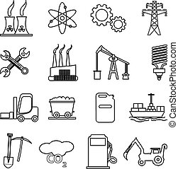 industrial line icons set
