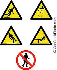 industrial, lugar de trabajo, señales, y, símbolos, actuación, sitio, dirección, y, seguridad
