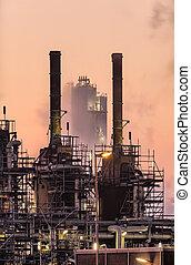 industrial, mañana temprana, escena