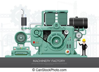 Industrial machine engine Factory construction equipment engineering vector illustration