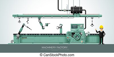 Industrial machine Factory construction equipment engineering vector illustration