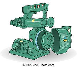 Industrial Machine Illustration - Sketch of pellets making...